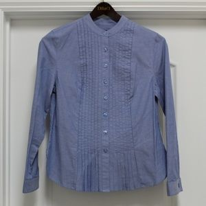 Westbound Women's Blue Tuxedo Button Front Shirt